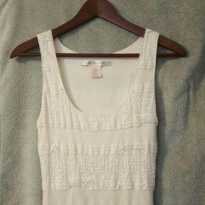 Max Studio White Cream Silhouette Midi Dress